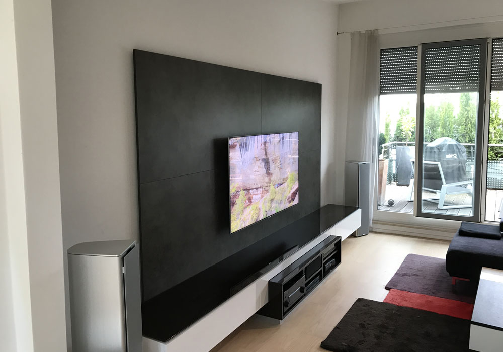 tv-wand mit medien low board | audio-team, Design ideen