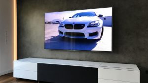 Beleuchtung Samsung TV Wand Wandmontage und Spectral Cocoon Lowboard