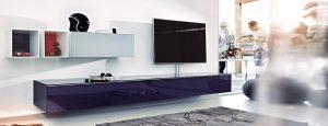 Lowboard mit TV-Halterung und viel Stauraum